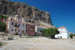 Medieval houses of byzantine town Monemvasia at the east coast o Stock Photo