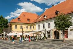 Medieval Houses Downtown Sibiu Stock Photos
