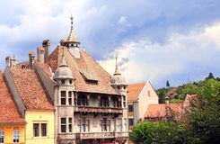 Medieval houses in fortress Sighisoara city, Transylvania, Roman Royalty Free Stock Images