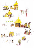 Medieval houses hand drawn color illustration, part of medieval series set Royalty Free Stock Images