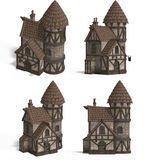 Medieval Houses - Inn. Four Views of an old fashioned house over white Stock Photography