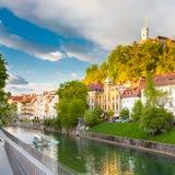 Medieval houses of Ljubljana, Slovenia, Europe. Stock Photos