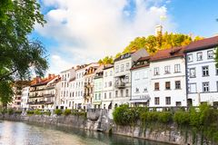Medieval houses of Ljubljana, Slovenia, Europe. Royalty Free Stock Photos