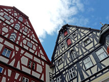 Medieval houses at the marketplace of Rothenburg ob der Tauber, Royalty Free Stock Photography