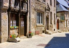 Medieval houses in Moncontour, Cotes d`Armor, Brittany stock photo