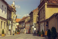 Medieval houses and promenade alley Stock Photos