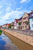Medieval houses at river breitbach. In Marktbreit Royalty Free Stock Photo