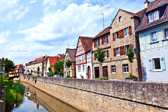 Medieval houses at river breitbach in Marktbreit Royalty Free Stock Photography