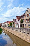 Medieval houses at river breitbach in Marktbreit. Old medieval houses at river breitbach in Marktbreit Royalty Free Stock Images