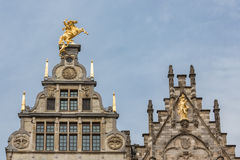 Medieval houses with roof ornaments in Antwerp, Belgium Royalty Free Stock Images