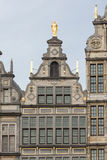 Medieval houses with roof ornaments in Antwerp, Belgium Royalty Free Stock Image