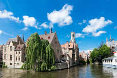 Medieval houses, Rozenhoedkaai in Brugge Stock Photography