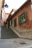 Medieval houses in Sibiu Stock Photo