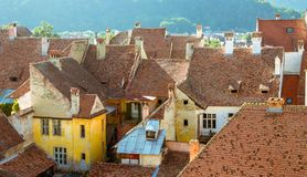 Medieval houses in Sighisoara, Romania-Overview Royalty Free Stock Photo
