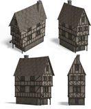 Medieval Houses - Tavern. Four Views of an old fashioned house over white Royalty Free Stock Photography