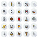 MEDIEVAL icon set of colour simple icons. For web, app. Vector illustration on round background Royalty Free Stock Image