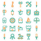 MEDIEVAL icon set of outline icons. For web, app. Vector illustration on white background Stock Photography
