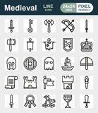 MEDIEVAL icon set of outline icons. For web, app. Vector illustration on white background Royalty Free Stock Photo