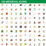 100 medieval icons set, cartoon style. 100 medieval icons set in cartoon style for any design illustration vector illustration