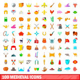 100 medieval icons set, cartoon style Stock Image