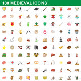 100 medieval icons set, cartoon style. 100 medieval icons set in cartoon style for any design vector illustration Stock Photo