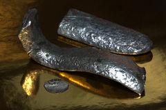 Medieval ingots of silver Stock Image