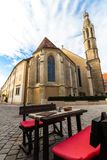 Benedictine church and restaurant table royalty free stock images