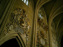 Medieval interior chruch catholic Stock Image