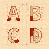 Medieval inventor sketches of A B C D letters. Retro font on old yellow textured paper Stock Image