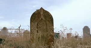Medieval islmic tomb stone stock video
