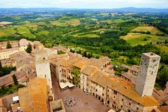Medieval Italian hill town. Aerial view over the town of San Gimignano, Tuscany, Italy Stock Images