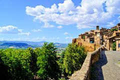 Medieval Italian hill town. View from of the medieval hill town of Orvieto, Umbria, Italy Royalty Free Stock Photo