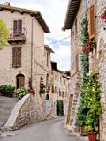 Medieval Italian street. Medieval street in the Italian hill town of Assisi Royalty Free Stock Photos
