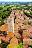 Medieval Italian village. Aerial view of the medieval town of San Gimignano, Tuscany, Italy Royalty Free Stock Photos