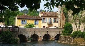 Medieval Italian Village on a Bridge Stock Photo