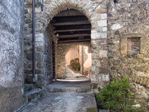 Medieval Italian village- detail vault and flowers. Royalty Free Stock Photo