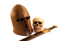 Medieval items. And period armor displaying power Royalty Free Stock Photos