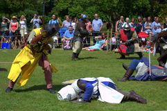 Medieval Jousting foot combat Hever Castle England Royalty Free Stock Images