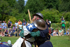 Medieval Jousting foot combat Hever Castle England Stock Image