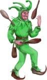 Medieval Juggler Juggling Sticks Watercolor Royalty Free Stock Images