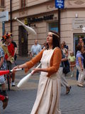 Medieval juggler, Lublin, Poland Stock Images