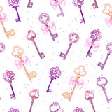 Medieval keys with pink bows seamless vector pattern Royalty Free Stock Photos