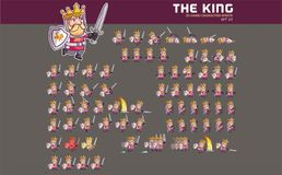 Medieval King Game Character Animation Sprite. Vector Illustration of Fun and Cute Medieval King Game Character Animation Sprite Frames Royalty Free Stock Images