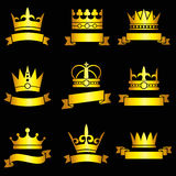Medieval king tiaras, gold crowns and ribbon banner vector set. Imperial aristocracy insignia with crown and ribbon illustration vector illustration