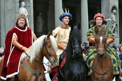 Medieval kings in a reenactment in Italy. Medieval reenactment is a form of historical reenactment that focuses on re-enacting European history in the period Stock Photo