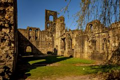 Medieval Kirkstall Abbey near Leeds. UK. Kirkstall Abbey is a ruined Cistercian monastery in Kirkstall, north-west of Leeds city centre in West Yorkshire Stock Photos