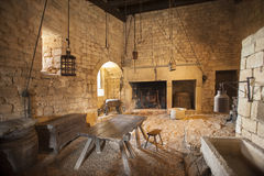 Medieval kitchen. And dining area in old castle in France Stock Image