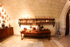 Medieval Kitchen at Chenonceau Castle in France Royalty Free Stock Image