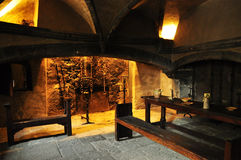Medieval Kitchen, Issogne Castle, Aosta Valley. Stock Photography