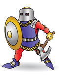 Medieval knight. Ready to the field battle with an axe  and shield Royalty Free Stock Photo